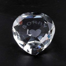 Sorry and Heart Clear Crystal Heart