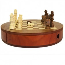 Hand Carved Wood Chess Set With Drawers