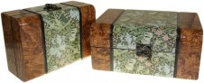 Keepsake Box - Med Walnut Floral Set of 2  Product