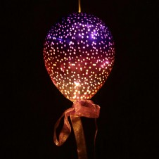 Pink and Purple Hanging LED Balloon - Medium Metallic