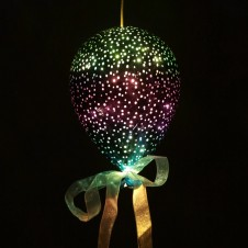 Green and Purple Hanging LED Balloon - Medium Metallic