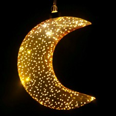Metallic Gold Hanging LED Moon