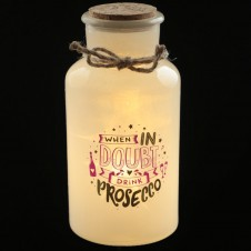 Decorative LED Glass Jar Light - Prosecco Slogans
