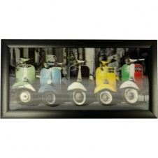 5 Vespas Framed HD 3D Iconic Prints