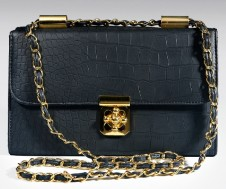Matt Croc Structured Bag With Feature Lock Black
