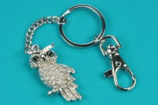Diamante and Rhodium Owl Keyring