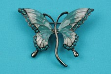 Teal Enamel Butterfly Brooch