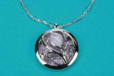 Silver-Lilac Round Pendant