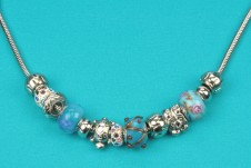 Silver-Blue Beaded Necklace