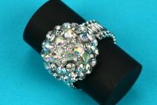 Domed Diamante Elasticated Ring