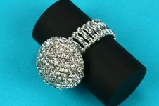 Indulgence elasticated domed ring with small diamante detail