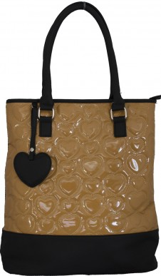 Stitched fashion handbag - Tan with Black Heart