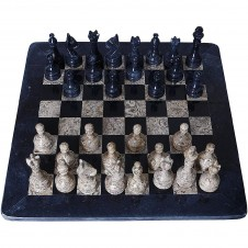 Handmade Fossil Stone and Black Marble Chess Set  12 Inches