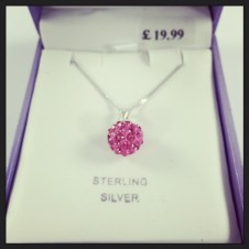 Sterling Pink Glitter Ball Necklace