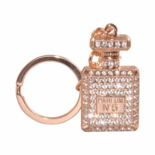 DIAMANTE KEYRING - PERFUME BOTTLE - IN ROSE GOLD