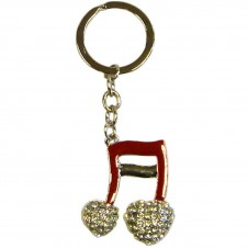 Diamante Musical Notes Keyring