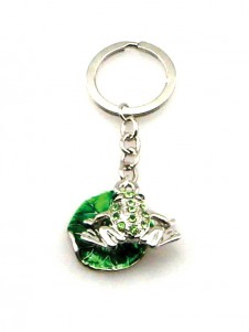 Diamante Frog on a Leaf Keyring