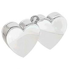 Silver Double Heart Balloon Weight pk of 3