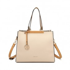 MISS LULU CLASSIC SIMPLE SHOULDER BAG - BEIGE