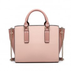 MISS LULU BUTTON WING PU LEATHER HANDBAG - PINK