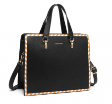 STRIPE DESIGN SHOULDER BAG - BLACK