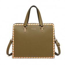STRIPE DESIGN SHOULDER BAG - GREEN