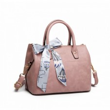 MISS LULU SILK SCARF SHOULDER BAG PINK