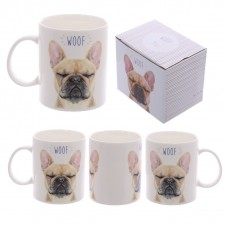 Fun New Bone China Mug - WOOF French Bulldog Design