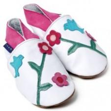 Oriental Bird  White First Baby Shoe