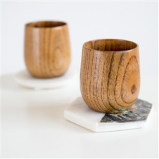 SCANDINAVIAN WOODEN COFFEE CUP SET