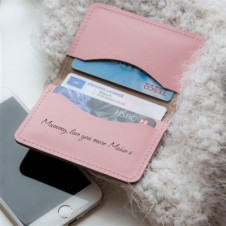 PERSONALISED PINK LEATHER SLIM CARD CASE