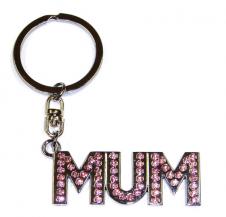 Pink Diamante  Mum Keyring