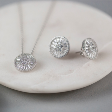 Sterling Circular Necklace and Earrings Set