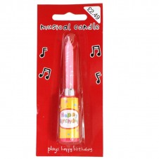 Happy Birthday Musical Candle Pink
