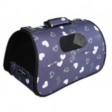 Collapsible Navy Hearts Pet Carrier Medium