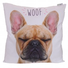 Decorative WOOF French Bulldog Cushion