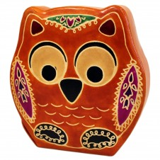 Handmade Leather Money Boxes Leather Money Box  Lrg Brown Owl