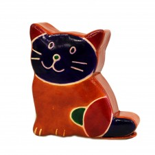 Leather Money Box - Small Brown Cat