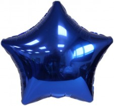Blue Star Foil Balloon Includes Straw Holder