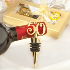 Golden 50 Anniversary - Birthday Wine Bottle Stopper