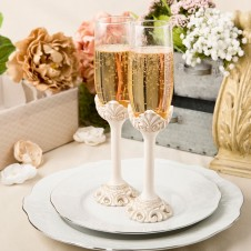 Vintage Design Set of Champagne Toasting Glasses