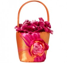 Hot Pink and Orange Flower Girl Basket