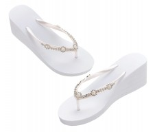 Team Bride Pearl Rhinestone Wedge Flip Flops  3sizes