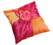 Hot Pink and Orange Ring Bearer Pillow