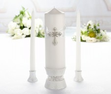Lillian Rose Silver White Cross Unity Ceremony Candles