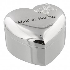 Amore Silver Plated Heart Trinket Box Maid of Honour