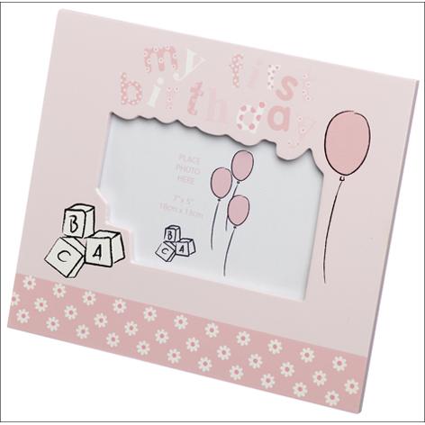 My First Birthday Photo Frame in Pink 7x5 Bella Baby Range
