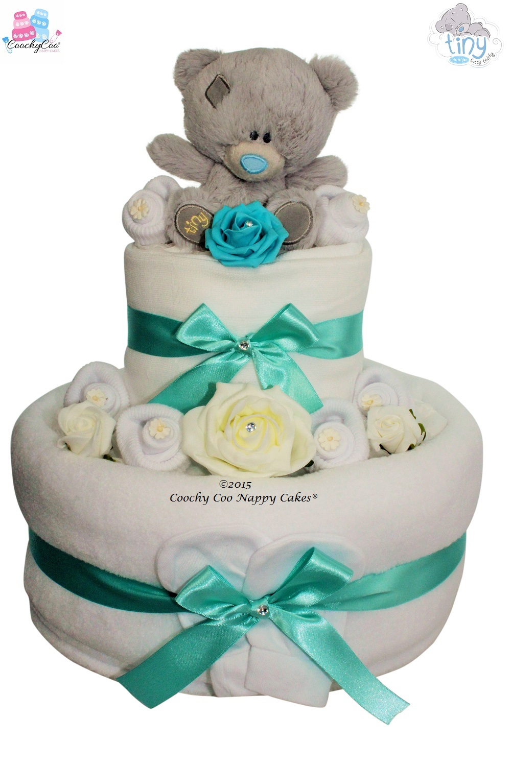 Baby Gift Nappy Cake : Tiny tatty teddy? nappy cake two tier