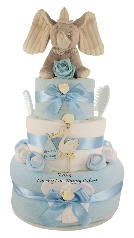 Three Tier Baby Boy Dumbo Elephant Nappy Cake Gift