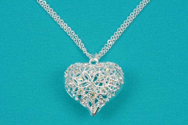 Silver filigree heart necklace mozeypictures Image collections